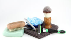 Mens Bathroom Toiletries. A collection of the simple items a rugged man needs in the bathroom royalty free stock photo