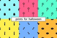 Patterns for Halloween. Collection of simple patterns for Halloween Stock Photo