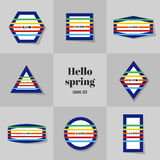 Collection Simple Rectangle for Hello Spring cards Royalty Free Stock Images