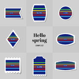 Collection Simple Rectangle for Hello Spring postage stamp Stock Image