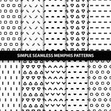 Collection of simple seamless geometric patterns. Memphis design. Fashion 80s-90s. Black and white texture Royalty Free Stock Image