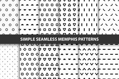 Collection of simple seamless geometric patterns. Memphis design. Stock Photo