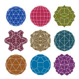Collection of 9 single color complex dimensional spheres and abs Royalty Free Stock Image