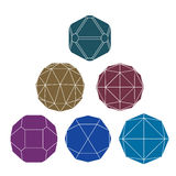 Collection of 6 single color complex dimensional spheres and abs Stock Images