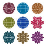 Collection of 9 single color complex spheres Stock Images