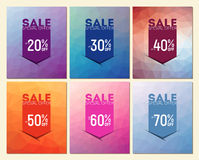 Collection of six arrow poligon Sale Flyers, can be used as poster or banner Stock Images