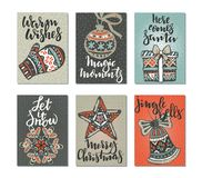 Collection of six Christmas greeting cards. Stock Photography