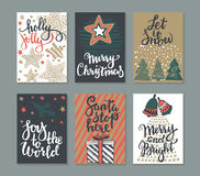 Collection of six Christmas greeting cards. Royalty Free Stock Photos