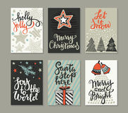 Collection of six Christmas greeting cards. vector illustration