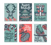 Collection of six Christmas greeting cards. Stock Image