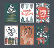 Collection of six Christmas greeting cards. stock illustration