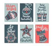 Collection of six Christmas greeting cards. Stock Photos