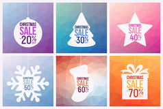 Collection of six  Christmas Sale Flyers, with Christmas attributes, can be used as poster or banner Royalty Free Stock Image