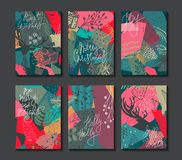 Collection of six colorful vector Christmas cards. stock illustration