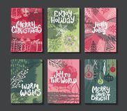 Collection of six colorful vector Christmas cards. royalty free illustration