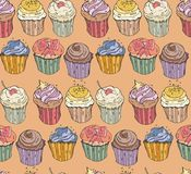Collection of six cupcakes. Vector seamless illustration and background  Royalty Free Stock Photo