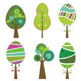 Collection of six cute and colorful trees, vector illustration. Royalty Free Stock Photography
