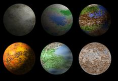 Collection of six fantasy alien planets Stock Images