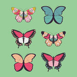 Collection of six hand drawn colorful butterflies Stock Images