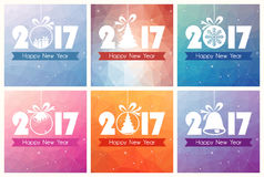 Collection of six Happy New Year Cards with polygon background. And Christmas tree toy Stock Photo