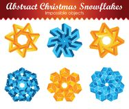 Collection of six impossible christmas snowflakes. Royalty Free Stock Photography