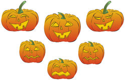 Collection of six  jack o'lanterns Stock Photos