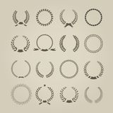 Collection of sixteen circular vintage laurel Stock Photos