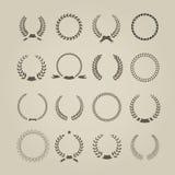 Collection of sixteen circular vintage laurel Stock Photos