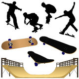 A Collection of Skateboarding Illustrations part 1 Stock Images