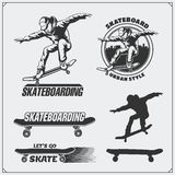 Collection of skateboarding labels, emblems, badges and design elements. Silhouette of a skateboarder. Black and white illustration Stock Photos
