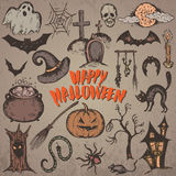 Collection of sketch Halloween characters Royalty Free Stock Photos