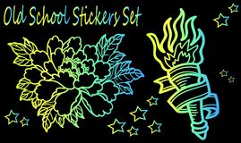 Neon sketches of a tattoo. A collection of sketch tattoos - an old school style. Detailed peony flower - close-up and torch with fire Royalty Free Stock Photo