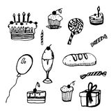 Collection of sketches  birthday  illustration Stock Photo