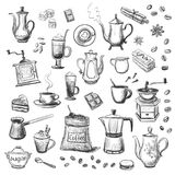 A collection of sketches on the theme of coffee.Hand drawn Stock Photography