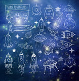 Collection of sketchy space objects Royalty Free Stock Photography