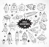 Collection of sketchy space objects Royalty Free Stock Images