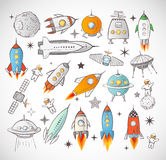 Collection of sketchy space objects Stock Photo