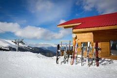 Collection of skis ski resort Stock Image