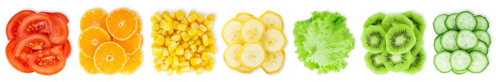 Collection of sliced fruits and vegetables on white stock images