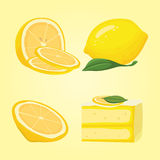 Collection of sliced lemons. Vector illustration Royalty Free Stock Photography