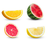 Collection of slices orange, watermelon, red stock photos