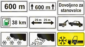 Collection of Slovenian Additional Road Signs Stock Photos