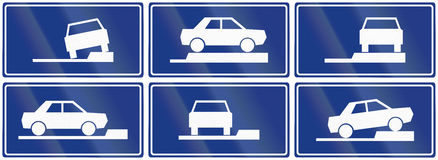 Collection of Slovenian Additional Road Signs Stock Photo