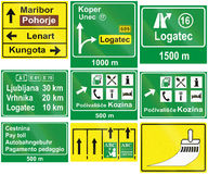 Collection of Slovenian Guide Road Signs Stock Photo