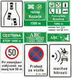 Collection of Slovenian Warning Road Signs Stock Image