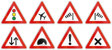 Collection of Slovenian Warning Road Signs Stock Photos