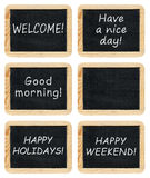 Collection of small blackboards royalty free stock photos