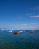 Collection of small boats. Small boats on swedish coast royalty free stock photo