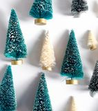 Small Christmas trees from above Stock Images