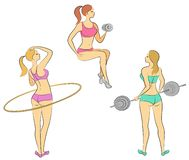 Collection.Small lady. Girls are engaged in fitness, raises the bar,. twists the circle. The woman is young and slender, with a royalty free illustration
